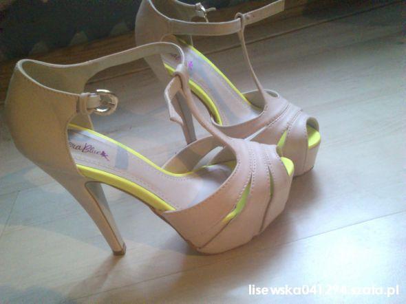 szpilki sandałki neonowe wstawki nowe promocja