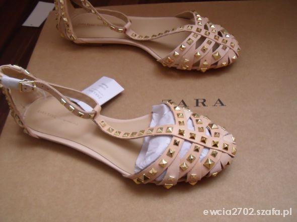 nowe sandaly rzymianki ZARA 40 nude nity 2013