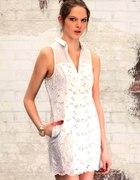 STRADIVARIUS sukienka TUNIKA ażurek BIAŁA cudowna