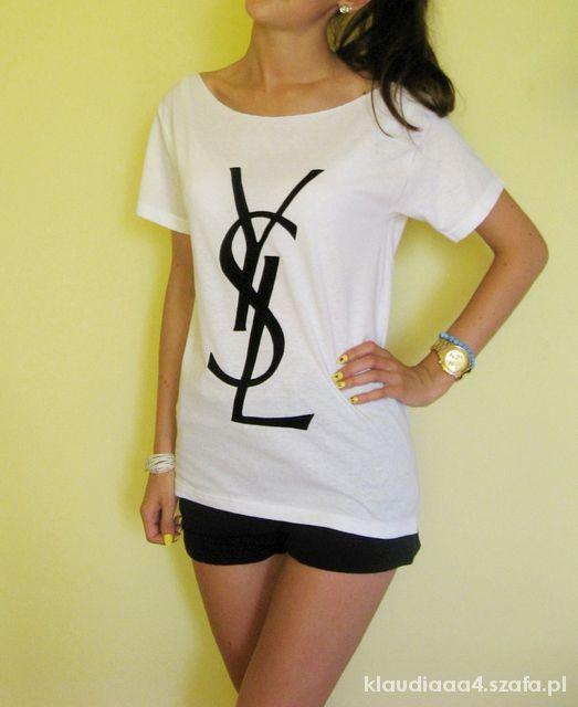 YSL biała koszulka t shirt oversize DIY