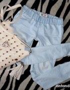 tregginsy jasny jeans gruba guma