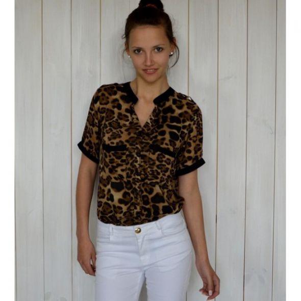 Brązowa Koszula Panterkowa M