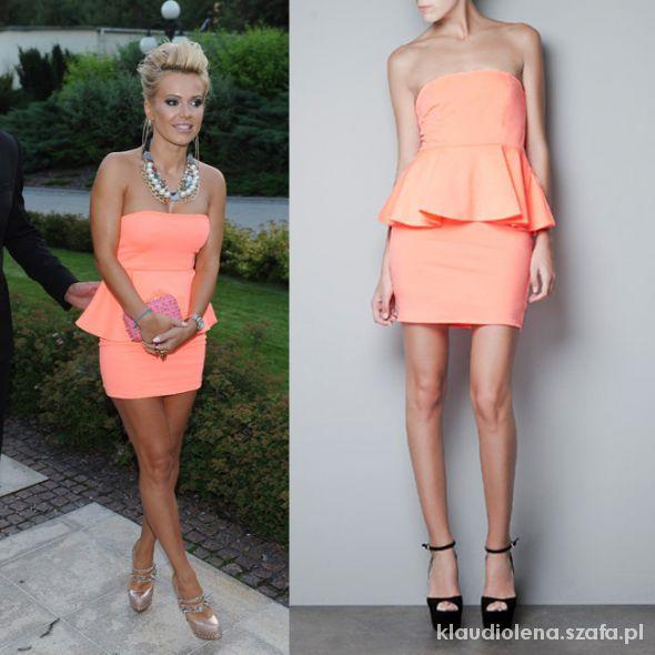 neonowa baskinka Zara sukienka brzoskwiniowa neon w Ubrania