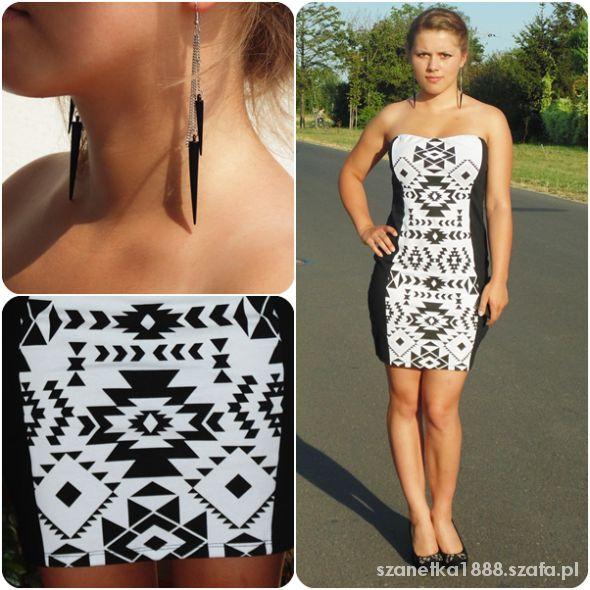 Blogerek Sukienka czarno biała aztec