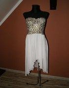 Cameo Rose White Foil Leopard Print Dip Hem Dress