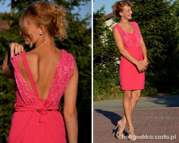 Eleganckie Piękna różowa sukienka handmade na sprzedaż