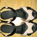 Sandałki czarne z kokardką nude firmy BATA