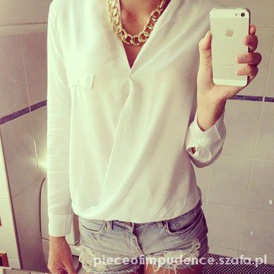 Koszule Koszula kopertowa blogerska biała
