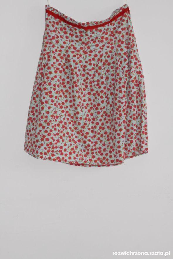Spódnice Rozkloszowana spódnica wysoki stan XXL różyczki