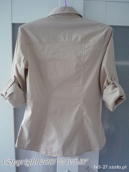 Mohito Beżowa Taliowana Koszula Czarna Lamówka XS w Koszule