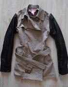 Płaszcz ze skórzanymi rękawami DIY