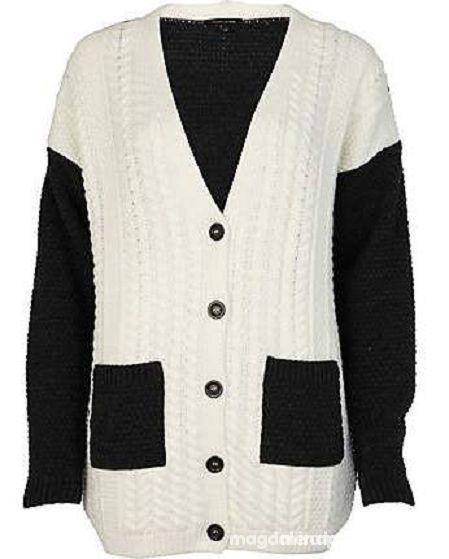 RIVER ISLAND black and white gruby ciepły sweter...