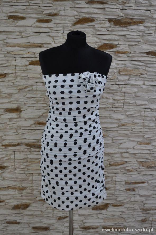 Suknie i sukienki Sukienka biała w czarne groszki