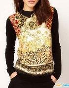 Koszula Top ASOS style szyfon panterka kołnieżyk