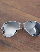 Okulary aviatorki srebrne nowe