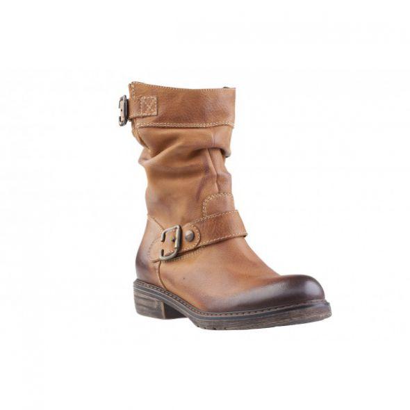 brązowe zimowe skórzane buty...