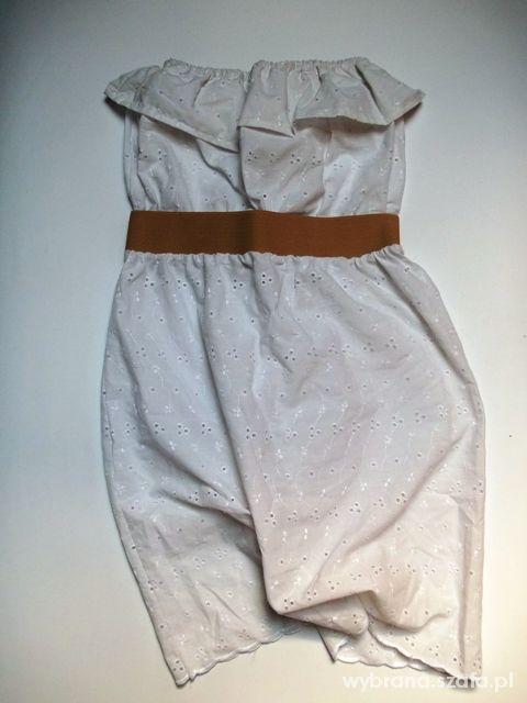 Biała sukienka z kremowym pasem gumka folklor
