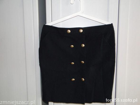 Spódnice TOP SHOP spódnica granatowa złote guziki