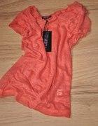 Nowa bluzka z krótkim rękawem mgiełka S M