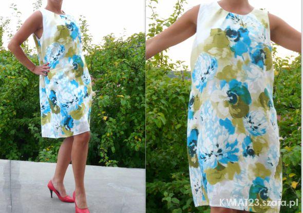 c51a1b2e0c Lniana sukienka pastelowe kwiaty roz 48 50 POLECAM w Suknie i ...