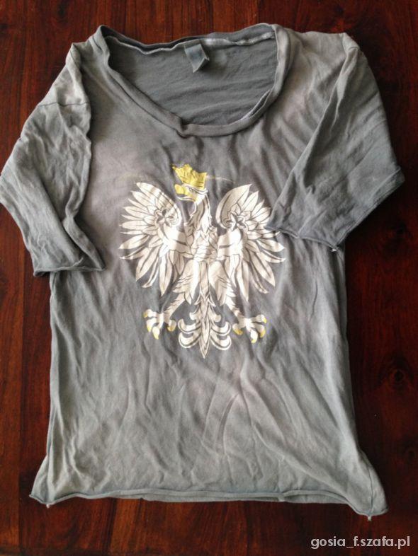 a91e99c6f t shirt Roberta Kupisza z orłem szaro niebieski w T-shirt - Szafa.pl