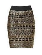 Czarna spódnicaze złotym azteckim wzorem New Look
