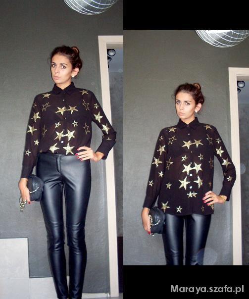 Imprezowe Koszula w gwiazdy & skórzane spodnie