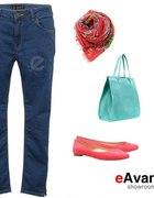 jeansy z wysokim stanem tylko rurki 42