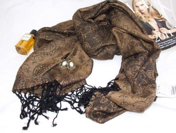 Chusty i apaszki SZAL CHUSTA PASHMINA odcienie brązu