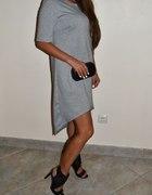 asymetryczna szara sukienka gwiazd blog