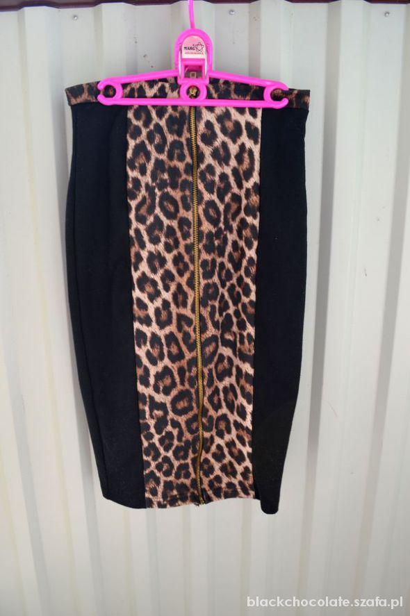 Spódnice spódnica wysoki stan panterka new look zip