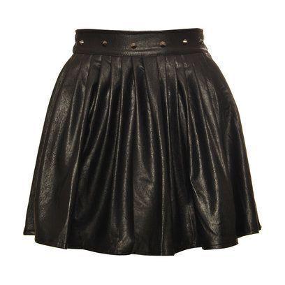 Spódnice czarna skórzana spódnica z ćwiekami