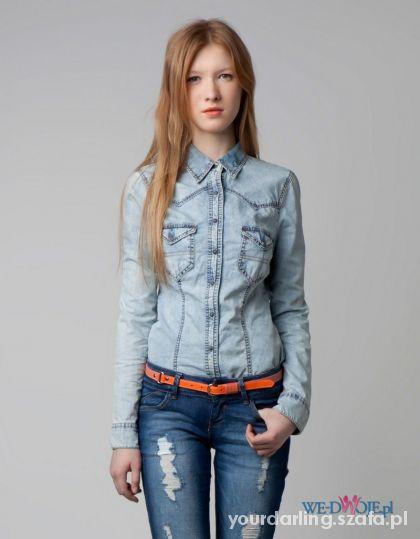 BERSHKA koszula jeansowa jeans acid marmurkowa