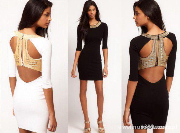 Suknie i sukienki Asos czarna ze złotymi plecami