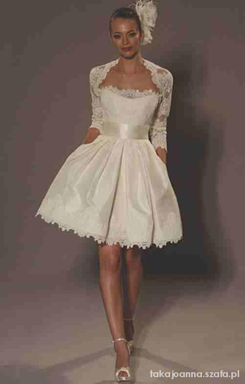 Krótka z bolerkiem suknia ślubna 36 38 już uszyta