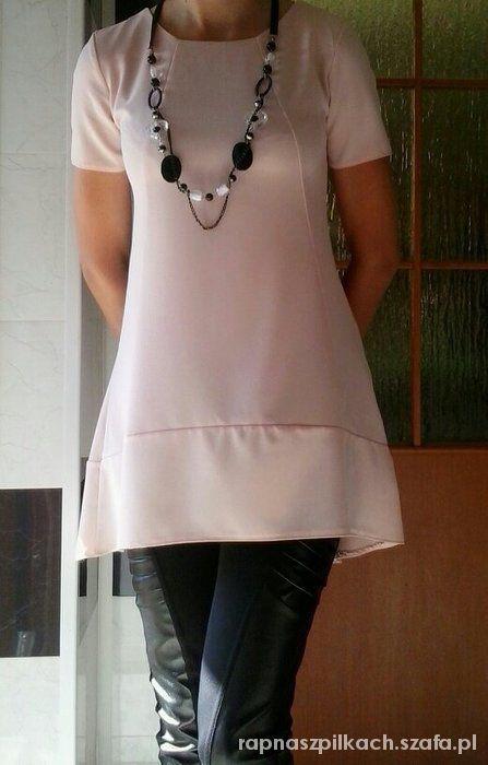 asymetryczna biała sukienka tunika luźna