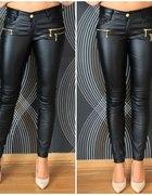 woskowane czarne tregginsy rurki zip XS S M L XL