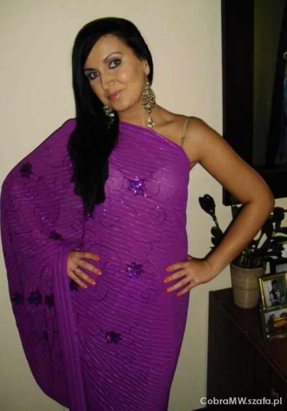 Wieczorowe Wrzosowe sari