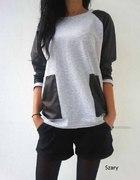 SPORTOWA asymetryczna bluza sweter rękaw skóra