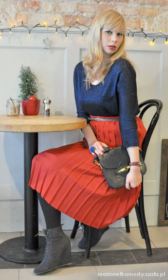 Spódnice Retro plisowana czerwona spódnica midi