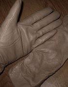 skórzane beżowe rękawiczki M