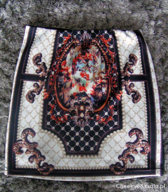 Spódnice barokowa wzorzysta print spódniczka etno aztec