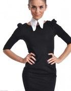 czarna sukienka Topshop bufki Tusk...