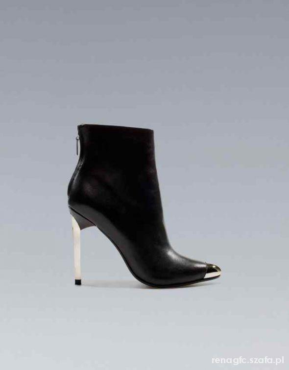 Zara czarne botki szpilki szpic miękkie neopren 38 w Botki