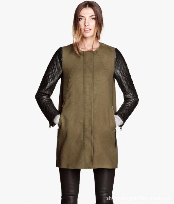 Płaszcz H&M khaki z pikowanymi rękawami nowy