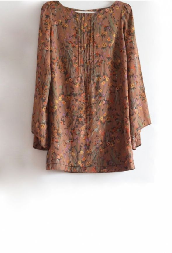 Topshop brązowa tunika bluzka retro kwiaty