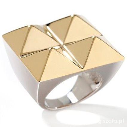 Biżuteria SZUKAM pierścionek PIRAMIDKI złoty Opia nOir