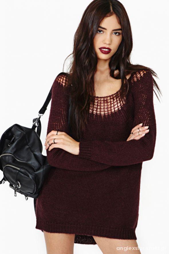 Bordowy perfekcyjny sweter