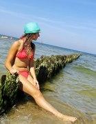 Koralowy ażurkowy strój kąpielowy...