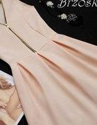 XXS brzoskwiniowa sukienka klosz zip